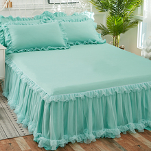 韩款单ju公主床罩床en1.5米1.8m床垫防滑保护套床单