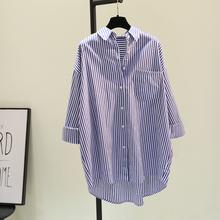 蓝色竖ju纹中长式衬ci2021春秋新式韩范文艺BF风休闲衬衫开衫
