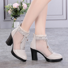 雪地意尔康真皮ju跟网纱凉鞋ia跟2021新款包头大码网靴凉靴子