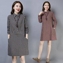长袖连ju裙2020ia装韩款大码宽松格子纯棉中长式休闲衬衫裙子