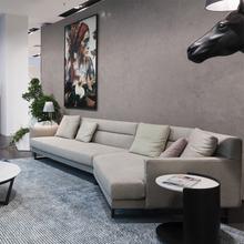 北欧布ju沙发组合现ia创意客厅整装(小)户型转角真皮日式沙发