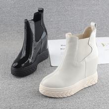 欧洲站ju跟鞋女20ie冬式漆皮11cm超高跟厚底女鞋内增高套筒短靴