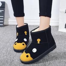 冬季女鞋磨砂靴子ju5短筒可爱ti学生河马雪地靴女短靴女棉鞋