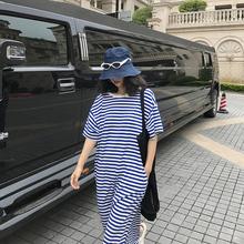 落落狷ju懒的t恤裙nd码针织蓝色条纹针织裙长式过膝V领连衣裙