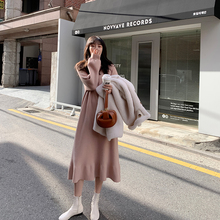 JHXju过膝针织鱼tl裙女长袖内搭2020秋冬新式中长式显瘦打底裙