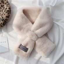 仿獭兔ju毛绒(小)围巾tm可爱百搭秋冬季交叉围脖网红护颈毛领