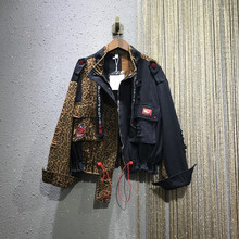 潮牌个ju豹纹拼接外tm021春夏新式欧洲站宽松大码休闲牛仔衣潮