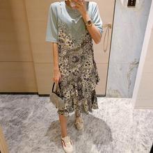 Pinju Daistm东大门裙子2020年新式夏天宽松蕾丝拼接印花连衣裙