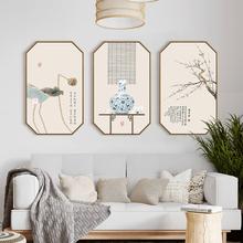 新中式ju厅玄关沙发qu挂画荷花工笔画禅意壁画茶室国画