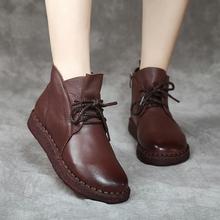 高帮单ju短靴女20qu秋季新式马丁靴高帮真皮软底百搭牛筋底皮鞋