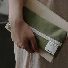 靠近我ju暖你 大容qu棉布简约学生女生男生笔袋日式基础笔袋