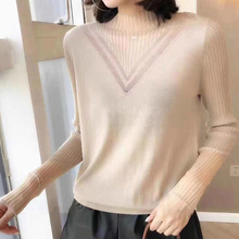 202ju春装新式韩fu套头蕾丝高领修身打底衫秋细羊毛针织衫女