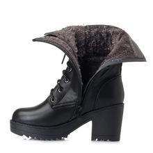 冬季军jw皮女靴羊皮hb雪地靴粗跟马丁靴大码中筒靴女士棉鞋