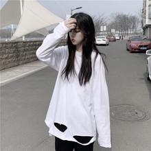 上衣女jw秋季202ki式破洞打底衫宽松原宿风白色长袖t恤纯色潮