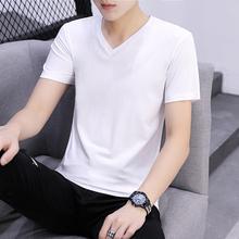 夏季纯jw纯棉t恤男kiV领韩款潮流半袖衣服体��男装长袖打底衫