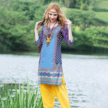 印度女jx纯棉印花特hi风异域风上衣复古舒适七分袖春夏式服饰