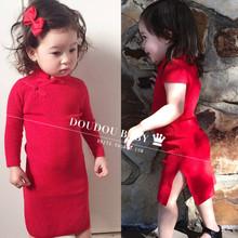 中国民jx风亲子女童ei季连衣裙纯棉女孩女童红色裙子周岁冬式