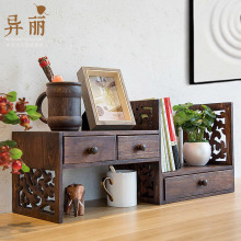 创意复jy实木架子桌ku架学生书桌桌上书架飘窗收纳简易(小)书柜