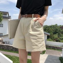 EKOjyL夏季韩款ku腿短裤女白色宽松显瘦a字热裤休闲工装短裤子