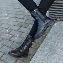 秋冬季jy士韩款休闲ca棉靴青年皮靴高筒长靴子高帮