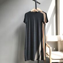 玖扣时jz夏新式莫代9v袖(小)A纯色长式T恤打底裙852