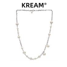 KREjzM原创 张bn Steel Pearl Necklace贝珠男女嘻哈