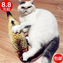 毛绒猫jz具鱼逗猫仿yy薄荷鱼抱枕网红假鱼枕头宠物(小)猫咪用品