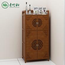 柜子储jz柜餐边柜多hg济型厨房置物架楠竹简易组装橱微波炉柜