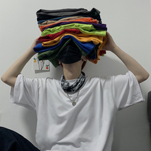 INSstjzdios.mxs韩国ins潮流复古基础百搭纯色宽松短袖打底衫T恤