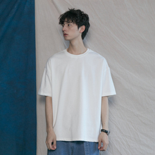 韩款纯k0基础式百搭0w棉T恤衫潮的男女宽松BF简约打底短袖tee