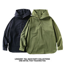 LENk1OIST tr美咔叽连帽亨利领猎装水洗做旧连帽休闲男女衬衫