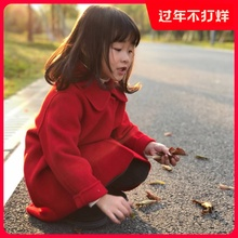童装羊k1女童毛呢外13大衣洋气宝宝女孩中长式宝宝羊毛双面呢