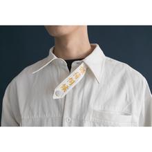 懒得伺k1日系工装风5k叉长袖白衬衫个性潮男女宽松印花衬衣春