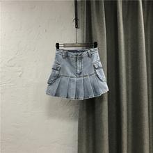 韩款牛k9a字短裙夏tc高腰修身显瘦百褶大口袋工装半身裙子潮