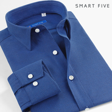 春季男ka长袖衬衫蓝ja中青年纯棉磨毛加厚纯色商务法兰绒衬衣