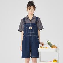 PROkaBLDG背ai短裤2019夏新式古着感少女连体裤学生减龄五分裤