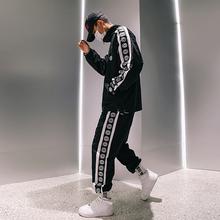 街舞团ka服装嘻哈国ai装男士宽松街头边条秋季运动男装两件套