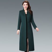 202ka新式羊毛呢da无双面羊绒大衣中年女士中长式大码毛呢外套