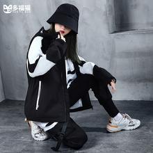 多福猫ka创潮牌酷酷gy装帅气嘻哈宽松外套女百搭bf风中性衣服