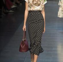 鱼尾裙ka点半身裙女le021新式中长式包臀裙雪纺高腰显瘦长裙