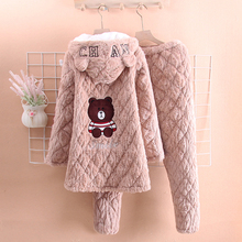 冬季法ka绒加厚睡衣le可爱学生韩款甜美中长式夹棉家居服套装