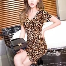 女装Vka半袖豹纹连us020夏季式韩款潮大码修身中长式打底裙潮