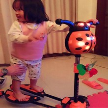 儿童蛙款滑板车2-3-6-ka102岁(小)ai四轮两双脚分开音乐剪刀车
