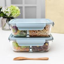日本上ka族玻璃饭盒em专用可加热便当盒女分隔冰箱保鲜密封盒
