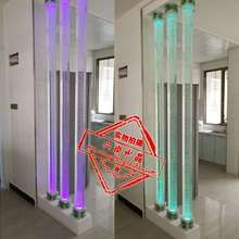 水晶柱ka璃柱装饰柱ti 气泡3D内雕水晶方柱 客厅隔断墙玄关柱