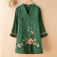 妈妈装ka装中老年女ar七分袖衬衫民族风大码中长式刺绣花上衣
