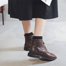 方头马ka靴女短靴平pa20秋季新式系带英伦风复古显瘦百搭潮ins