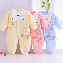 婴儿连ka衣秋冬季男pa加厚保暖哈衣0-1岁秋装纯棉新生儿衣服