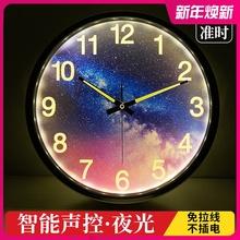 智能夜ka声控挂钟客ov卧室强夜光数字时钟静音金属墙钟14英寸