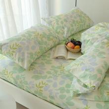 床单单ka0 纯棉双eim1.8米2.0m床全棉布斜纹单的学生被单绿叶